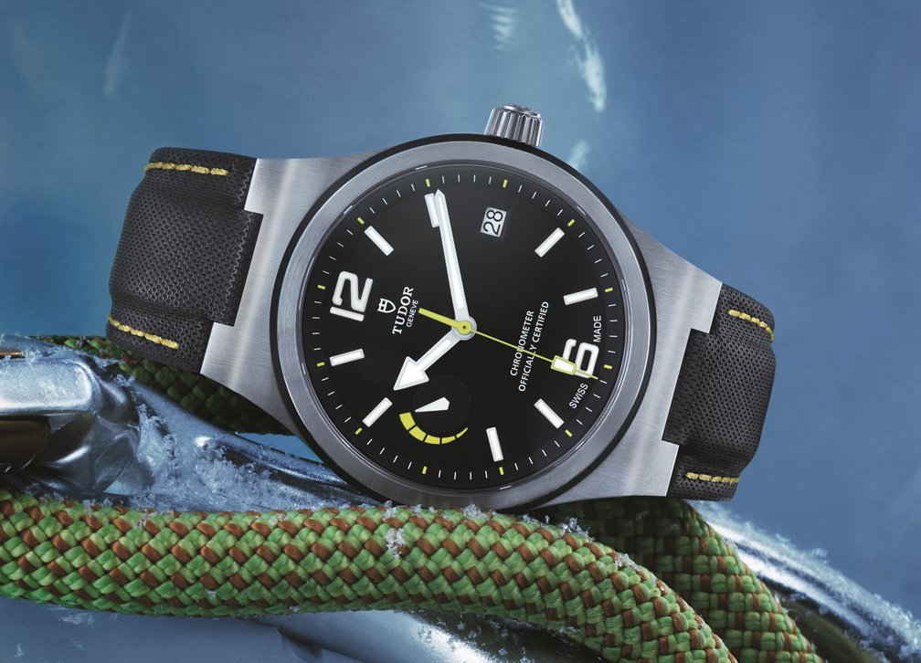 Pictured on the textured black fitted leather strap with yellow stitching. RRP £2,430.