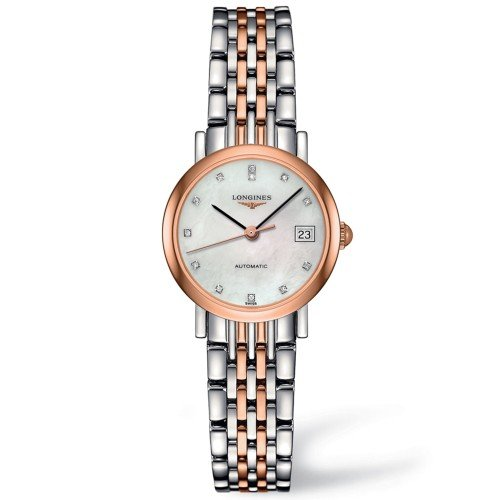 Make sure your love is never late for a date ever again; she can be on time with style. This beautifully elegant Longines Ladies Elegant Rose Gold timepiece features dazzling diamonds and an automatic moment, allowing the golden hand to sweep across the smooth mother-of-pearl face. £1550