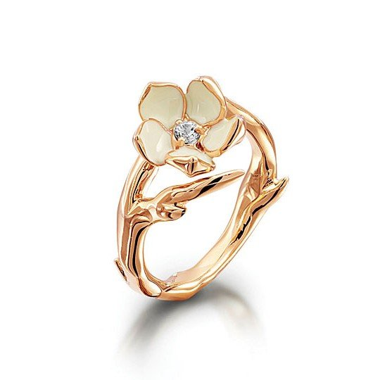 The Shaun Leane Rose Gold Cherry Blossom Diamond Ring. The shiny, smooth white and crimson flowers of the Japanese Cherry Blossom grew out of seeds sprinkled by a goddess from Mount Fuji. Now that elegance and grace can be worn on her beautiful hand. WAS £315 NOW £158