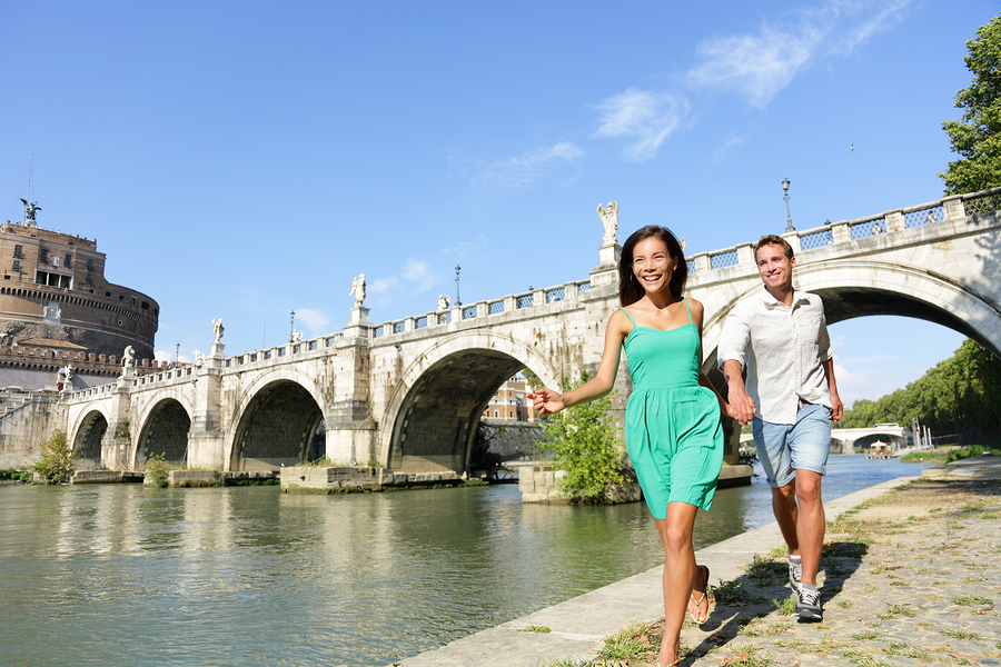 Couple having romantic walk abroad