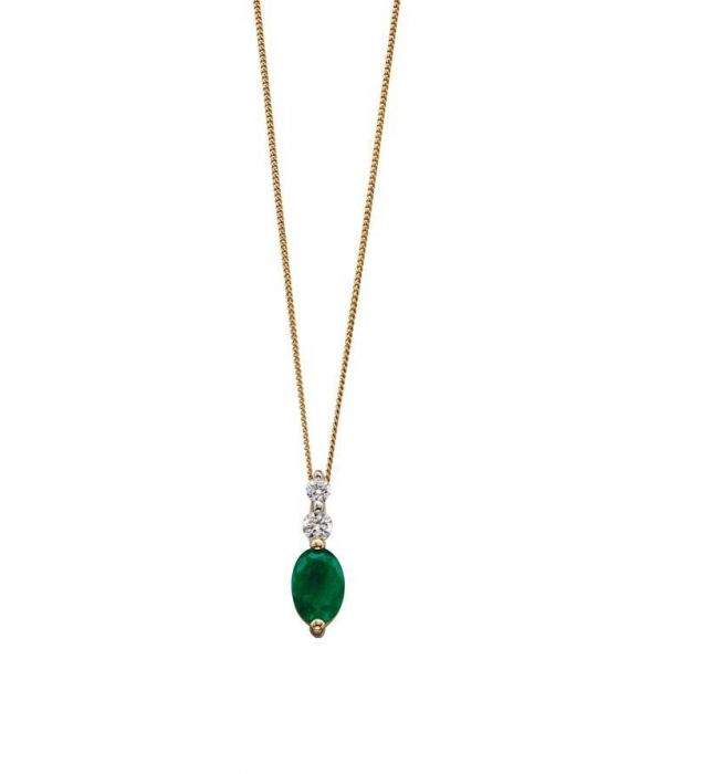 emerald and yellow gold drop pendant
