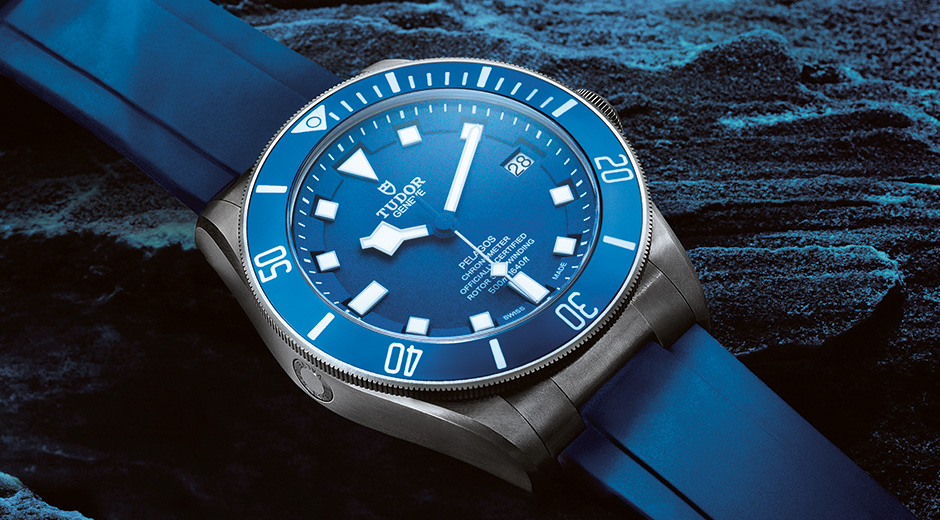 Bold, beautiful and blue, the new Tudor Pelagos is a true masterpiece and an essential for any diver. Notice the subtle helium escape valve at 9 o'clock.