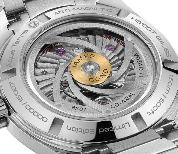 The James Bond engraved gold bullet is the centre piece to the unique gun barrel rotor showcasing Omega's magnificent Co-Axial anti-magnetic movement.