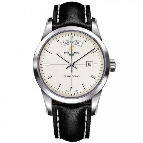 A handsome classic, the Gents Breitling Transocean Day and Date Watch. Features include a black leather strap with white stitching, day/date windows, 100m water resistance and an automatic movement. £3780