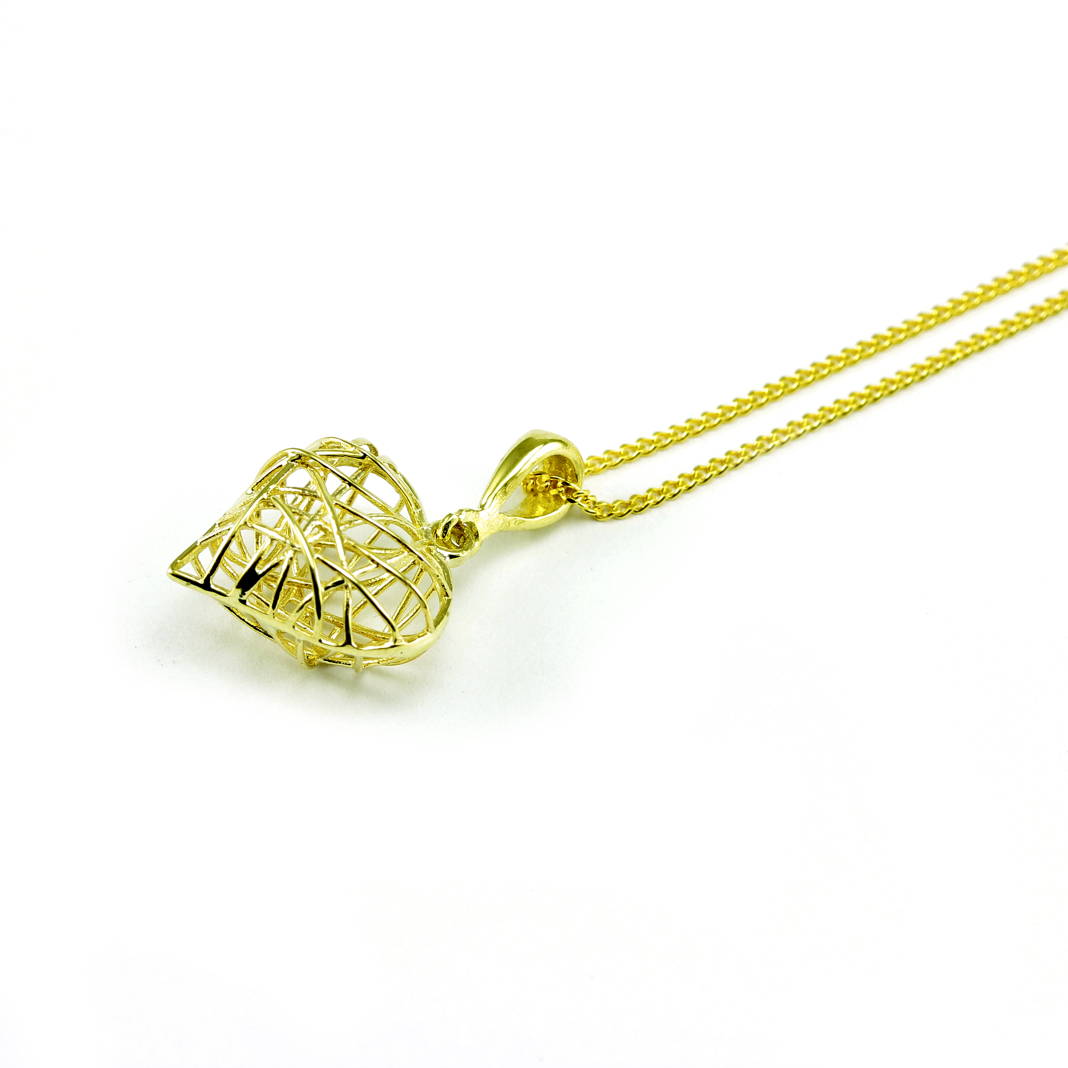 Romantic and graceful; capture her heart and her soul this Valentine's Day with this gorgeous 9ct Yellow Gold Caged Heart Necklace. Cage her heart and make her yours with the gift of this beautiful necklace. £135
