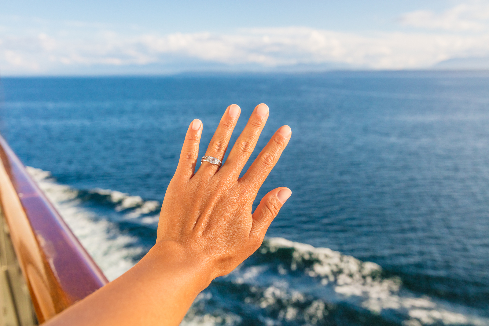 engagement ring in the sea