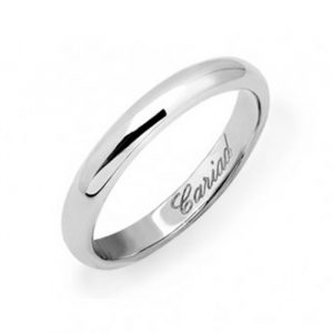 A D-shape white gold wedding band, engraved