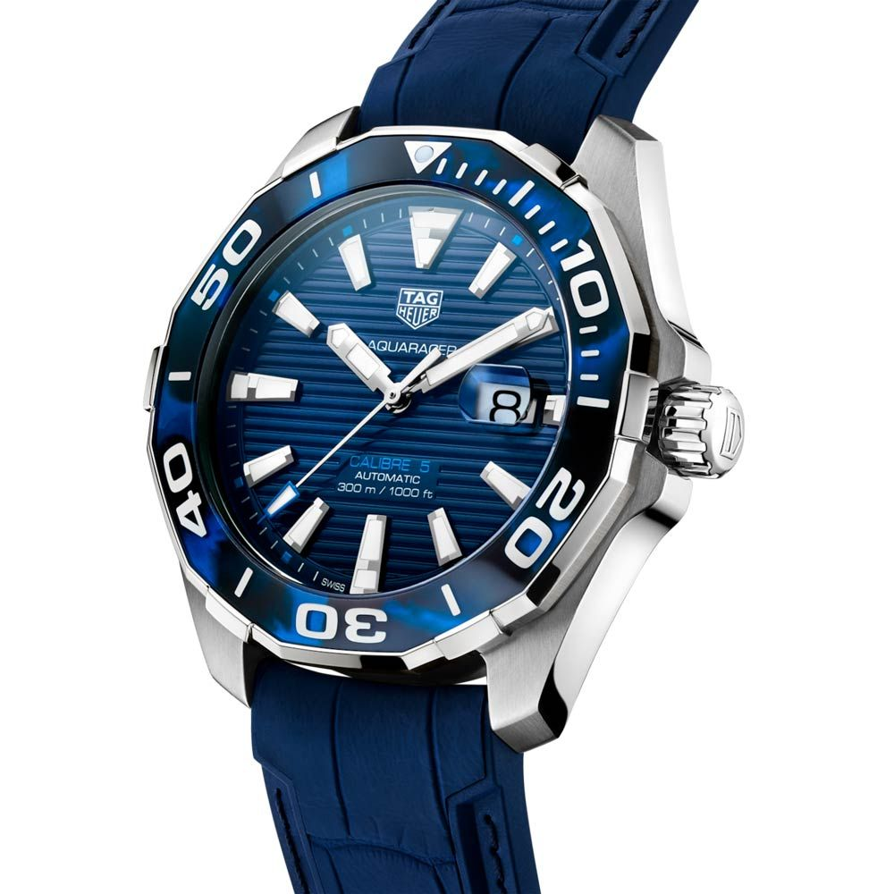 A TAG Heuer Gents Aquaracer 43mm Blue Dial Stainless Steel Automatic Watch