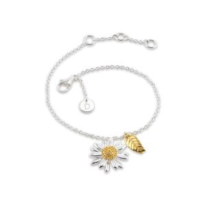 Daisy Ladies English Sterling Silver and 18ct Gold Plated Feather and Daisy Drop Bracelet BR2111 SPECIAL