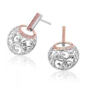 Clogau Silver and 9ct Rose Gold Am Byth Dropper Earrings 3SACDE