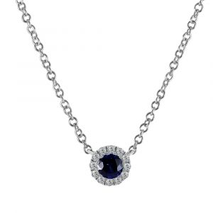 18ct White Gold 0.24ct Sapphire and 0.10ct Diamond Halo Necklace