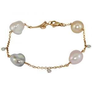 18ct Yellow Gold Multi-Coloured Pearl Chain Bracelet