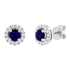18ct White Gold 0.80ct Sapphire and 0.28ct Diamond Halo Earrings