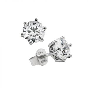 Diamonfire Platinum Rhodium Plated Silver 1ct CZ Solitaire Stud Earrings E5581
