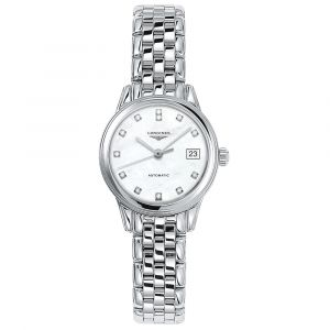 Longines Ladies Flagship Stainless Steel Automatic Diamond Watch L42744876