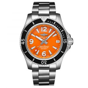 Breitling Superocean 36mm Orange Dial Stainless Steel Automatic Ladies Watch A17316D71O1A1