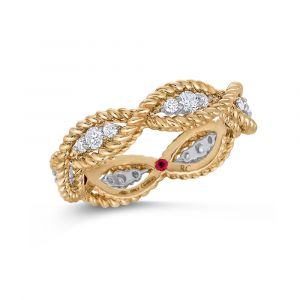 Roberto Coin 18ct Yellow Gold 18 Diamond Barocco Twist Ring ADR777RI0533Y