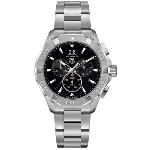 TAG Heuer Gents Aquaracer 43mm Black Dial Stainless Steel Chronograph Quartz Watch CAY1110.BA0927