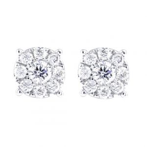 18ct White Gold 0.44ct Round Brilliant Diamond Cluster Earrings