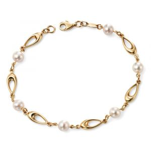9ct Yellow Gold Teardrops And Freshwater Pearl Bracelet GB416W