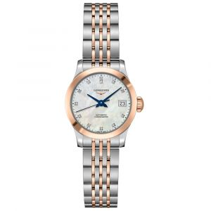 Longines Ladies Record Collection Rose Gold & Stainless Steel Diamond Watch L23205877
