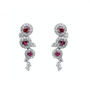 18ct White Gold 0.70ct Ruby & 0.61ct Diamond Round Brilliant Cut Earrings.