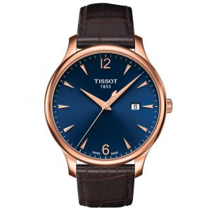 Tissot T-Classic Tradition 42mm Blue Dial Rose Gold PVD Steel Gents Watch T0636103604700 SPECIAL