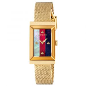 Gucci G-Frame Rectangular MOP Dial Gold PVD Stainless Steel Ladies Watch YA147410
