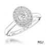 Platinum 0.51ct Oval Cut Diamond And 0.30ct Double Diamond Halo Engagement Ring