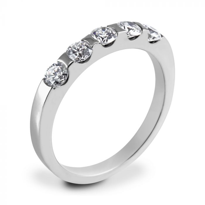 Christopher Wharton Platinum 0.61ct Tension Set Five Diamond Ring SPECIAL
