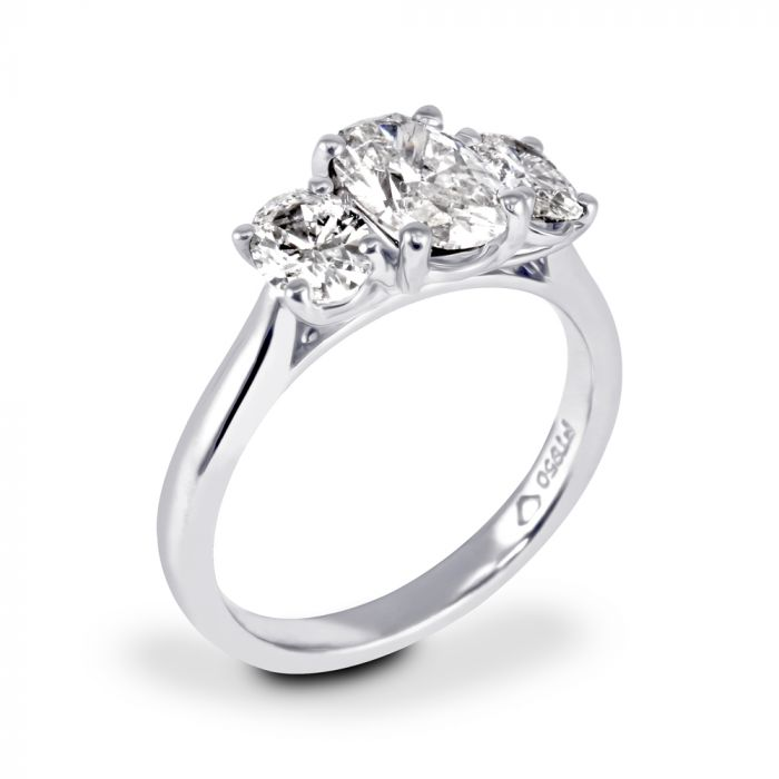 Platinum 1.81ct Three Stone Oval Cut Diamond Engagement Ring