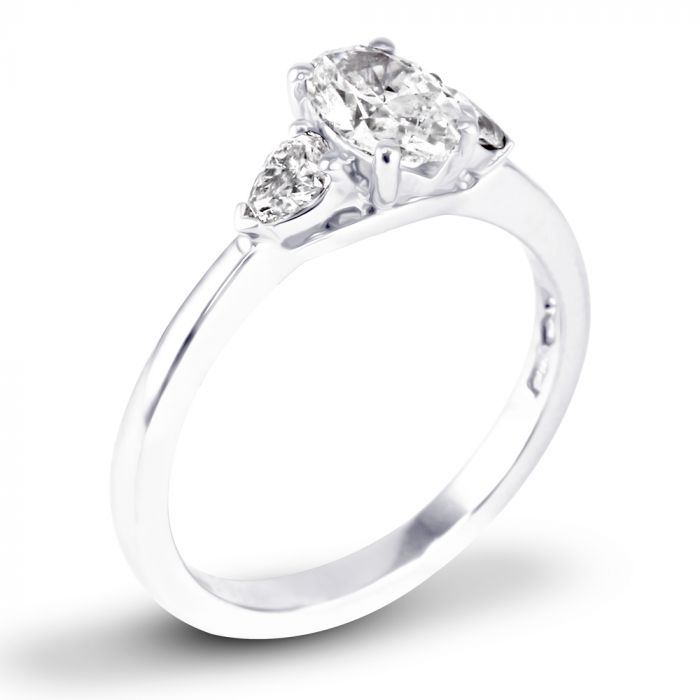 Platinum 1.00ct Three Stone Oval and Pear Cut Diamond Engagement Ring