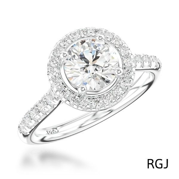 Platinum 1.01ct Round Brilliant Cut Diamond Engagement Ring With 0.31ct Diamond Halo And Shoulders