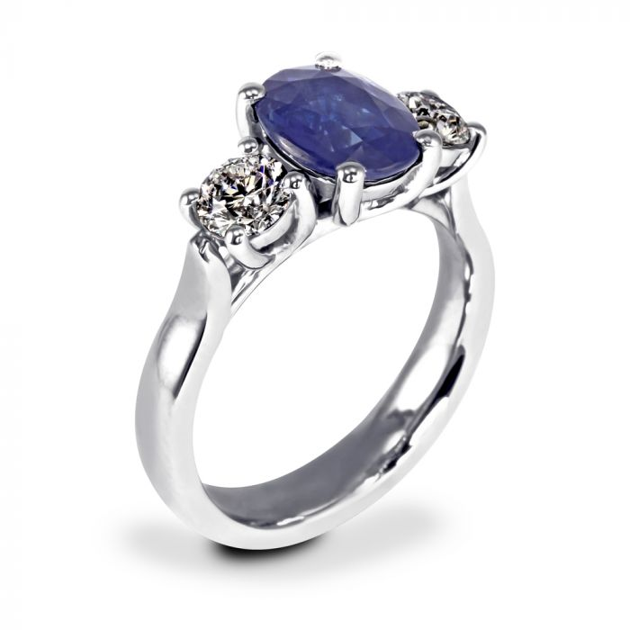 Platinum 2.14ct Oval Sapphire and Diamond Engagement Ring