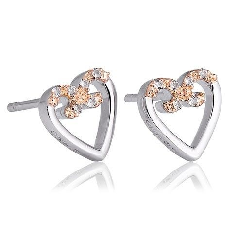 Clogau Silver and 9ct Rose Gold Affinity Heart Stud Earrings 3SAFSE