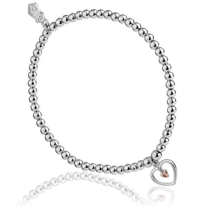 Clogau Silver and 9ct Rose Gold Tree of Life Heart Bead Bracelet 3SBB7