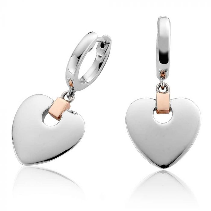 Clogau Silver and 9ct Rose Gold Cariad Heart Dropper Earrings 3SCDE010