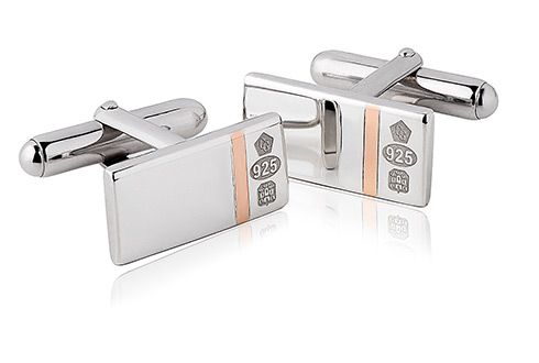 Clogau Silver and 9ct Rose Gold Hallmark Cufflinks 3SCL06