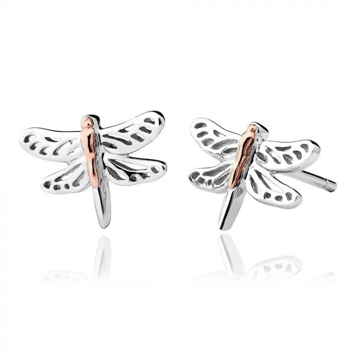 Clogau Silver and 9ct Rose Gold Damselfly Stud Earrings 3SDFE04