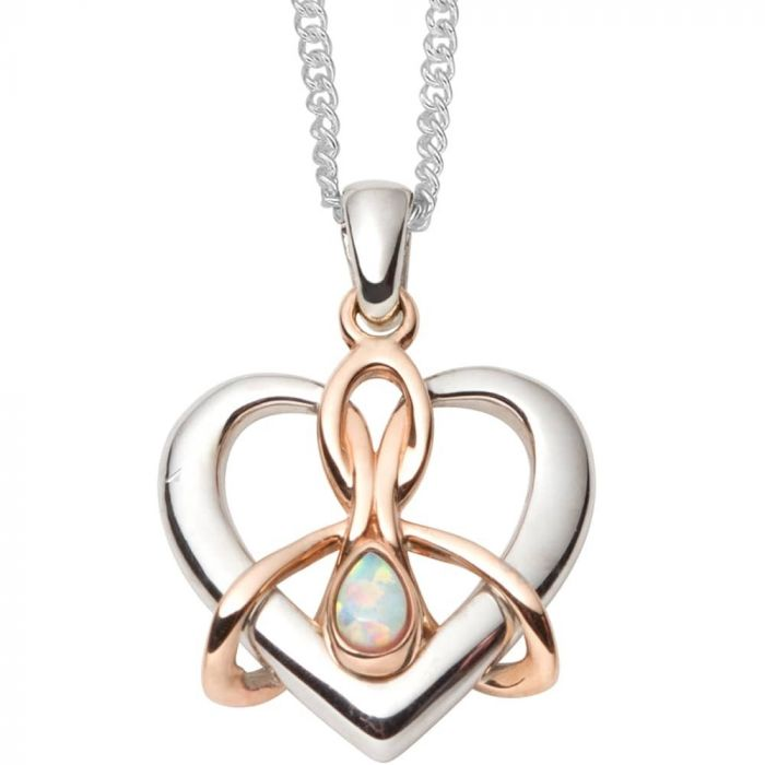 Clogau Silver and 9ct Rose Gold Dwynwen Opal Pendant Necklace 3SDWP