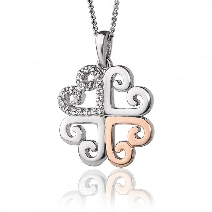 Clogau Silver and 9ct Rose Gold Affinity Heart Pendant 3SEHP SPECIAL