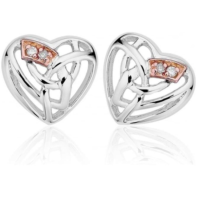 Clogau Silver and 9ct Rose Gold Eternal Love Diamond Earrings 3SELE