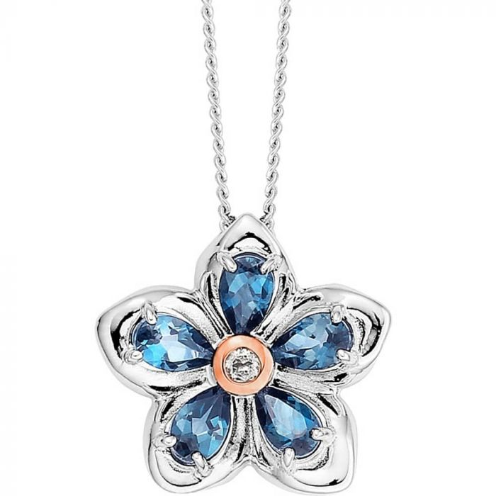 Clogau Silver and 9ct Rose Gold Forget Me Not Pendant Necklace 3SFMNP