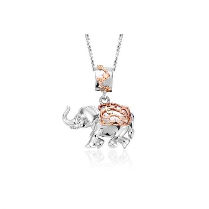 Clogau Silver and 9ct Rose Gold Indian Elephant Journey Necklace 3SJRNP1