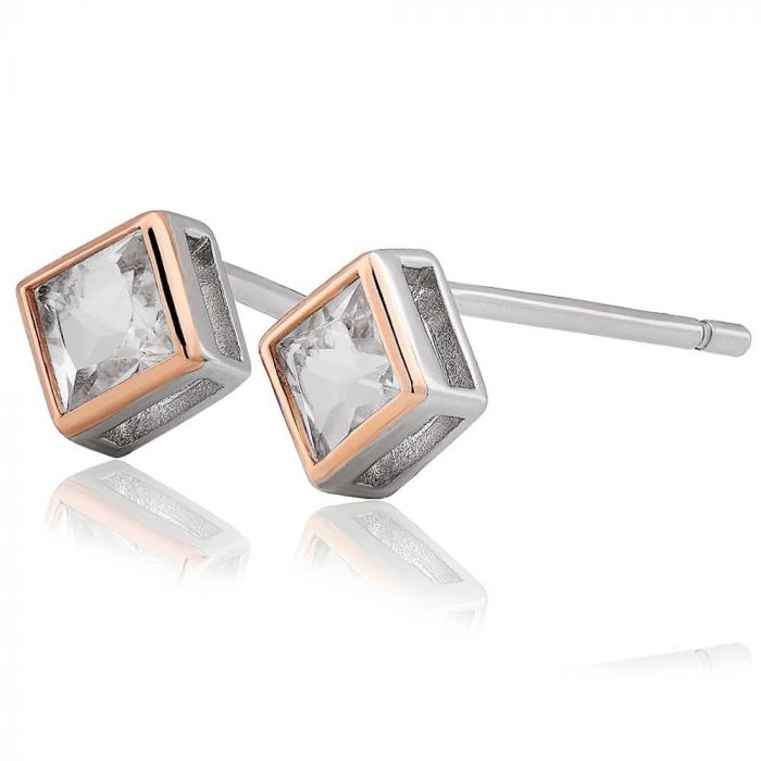 Clogau Silver and 9ct Gold Welsh Royalty Topaz Stud Earrings 3SQAE2