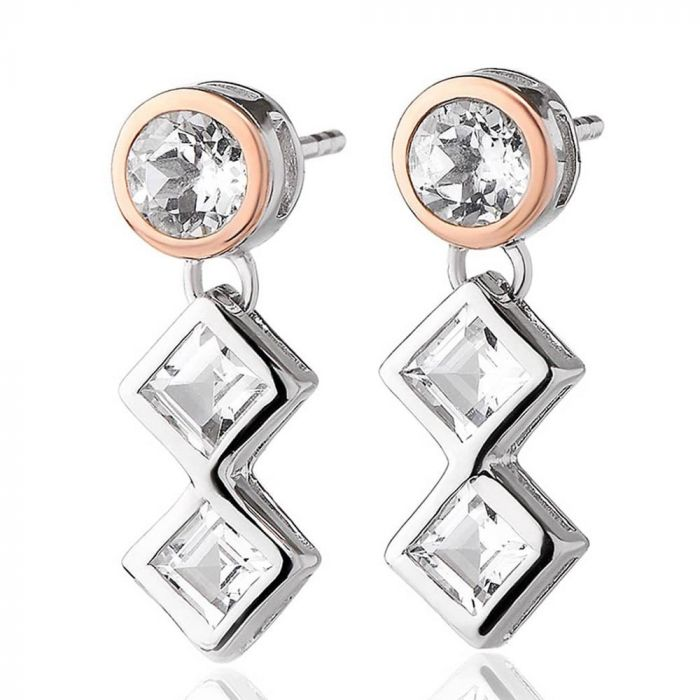Clogau Silver and 9ct Rose Gold Welsh Royalty Anniversary White Topaz Earrings 3SQAE