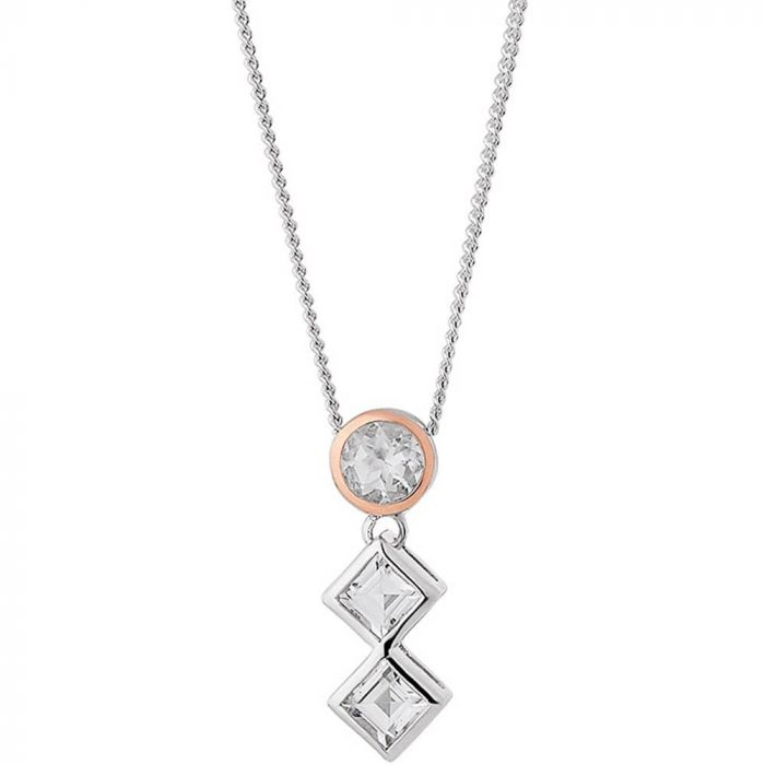Clogau Silver and 9ct Rose Gold Welsh Royalty Anniversary Pendant Necklace 3SQAP