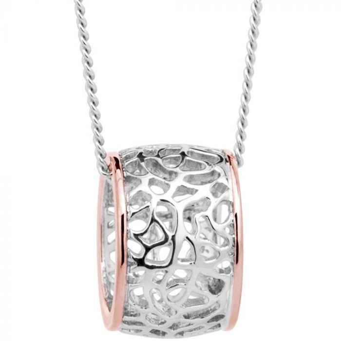 Clogau Silver and 9ct Rose Gold Royal Roses Pendant Necklace 3SRRP02