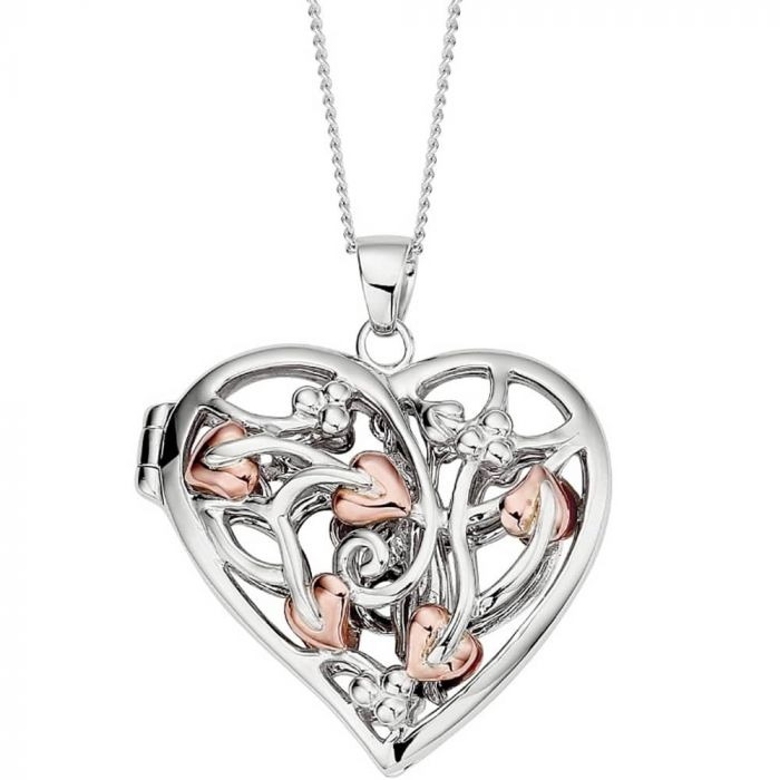 Clogau Silver and 9ct Rose Gold Fairy Heart Locket Necklace 3STFLP1