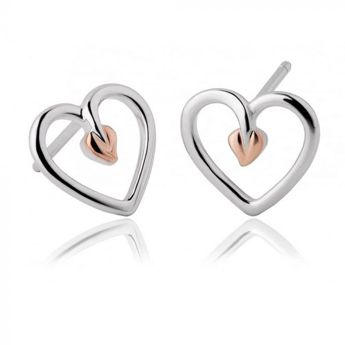 Clogau Silver and 9ct Rose Gold Tree Of Life Heart Stud Earrings 3STLHE7
